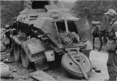 German army soldiers from the Edelweiss division look at the wreckage of the armored car from the Panzer Division of the Nazi Wehrmacht Luftwaffe, Armored Vehicles, Armored Car, Armoured Personnel Carrier, Tank Armor, Ww2 Photos, Military Pictures, Ww2 Tanks, War Photography