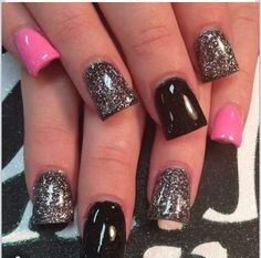 Pink, Black And Glitter Nails