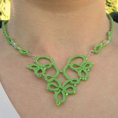 Green Heart tatted necklace