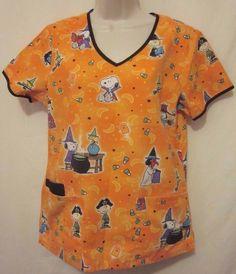 Peanuts Snoopy Halloween Nurse Medical Dental Vet Uniform Shirt Top SZ S V Neck  #Peanuts