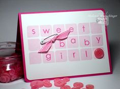Baby Girl Cards, Head And Heart, Letter Set, Scrapbook Paper, Design Cards, Hand Stamped, Cardmaking, Girly, Paper Crafts