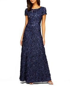 NAVY.... Rosette Shimmer Lace Chiffon Gown | Alex Evenings at Lord and Taylor .......Glittering rosettes accent this lace design with a flowing skirt for a classic and sophisticated evening look.