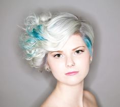 Precision Styling in Ottawa White blonde Teal hair Curls Short hair style Edgy cut Asymmetrical cut How To Curl Short Hair, Teal Hair, White Blonde, Curled Hairstyles, Ottawa, Salons, Curls, Short Hair Styles, Spa