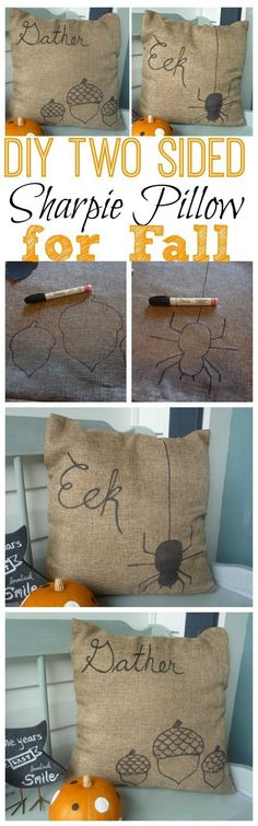 Burlap diy Two-Sided Sharpie Pillow tutorial for Fall decoration - painted, pumpkin, burlap pillow crafts