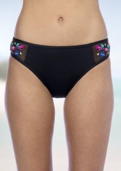 Kenneth Cole Reaction Black Garden Groove Embroidered Hipster Swim Bottom