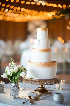 Romantic Keswick Nuptials at Castle Hill Cider | Charlottesville | gold painted four tier