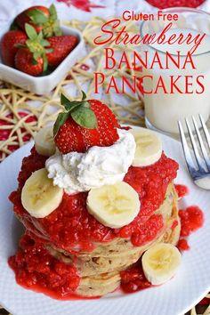 Gluten Free Strawberry Banana Pancakes