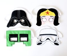 janome memory craft creating ITH embroidery super hero masks, including Darth Vader, Minecraft Creeper, Wonder Woman, and Storm Trooper Craft Activities For Kids, Crafts For Kids, Craft Ideas, Janome Embroidery Machine, Memory Crafts, Diy Cardboard, Diy Mask, Mask For Kids, Creations
