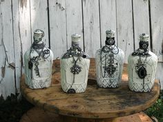 AmaZing!!! Gotta check her stuff out!!!   Vintage Looking Bottles by TABASDESIGNS on Etsy, $65.00