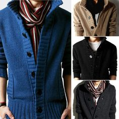 57175a2208f251 New Men s Cardigan Knit Sweater Thick Sweater Coat Korean Slim Fit Casual  Jacket
