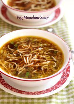 veg manchow soup recipe simple chinese veg manchow soup at home. how to make veg manchow soup. step by step manchow soup. Chinese Soup Recipes, Chicken Soup Recipes, Healthy Soup Recipes, Vegetable Recipes, Indian Food Recipes, Asian Recipes, Vegetarian Recipes, Paneer Recipes, Vegetable Pho