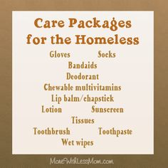 DIY Gifts Box - Care Packages for the Homeless (the list) Homeless Bags, Homeless Care Package, Homeless People, Homeless Shelters, Homeless Families, Helping Hands, Helping Others, Helping People, Mission Projects
