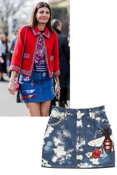 How to wear denim: Giovanna Battaglia in Marc Jacobs and this decorated Gucci piece offer a playful take on denim.Gucci skirt, $1,300, shopBAZAAR.com.