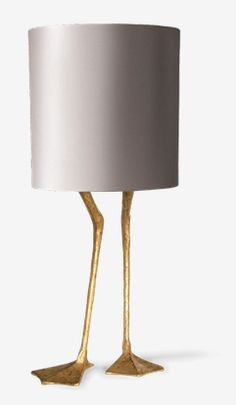 The perfect finishing touch for a trophy room - this lamp features a cylindrical shade supported on crane's legs. THIS will add additional charm to your tiger skin rug and the stuffed antelope head on your wall. Interior Lighting, Lighting Design, Lighting Concepts, Lamp Light, Light Up, Lampe Spot, Vintage Industrial Lighting, Lampshades, Lamp Design