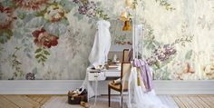 Blossom - Mr Perswall Murals - A flourishing floral fabric effect mural design. Total mural size wide x high. Paste-the-wall product. Wallpaper Online, New Wallpaper, Photo Wallpaper, Beautiful Wallpaper, Large Print Wallpaper, Toile Wallpaper, Wallpaper Decor, House Design Photos, Cool House Designs