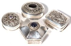 Four Silver Pill Boxes