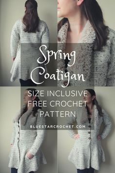 This is a crochet coat and crochet cardigan hybrid! It has the warmth of a coat but lightness of a cardigan combined to this stunning women's crochet jacket. It has additional faux fur collar to keep you warm and flared out skirt to add to the lightness of a spring crochet garment. Find the free pattern on the blog! Crochet Coat, Crochet Jacket, Crochet Cardigan, Crochet Clothes, Modern Crochet Patterns, Coatigan, Stunning Women, Faux Fur Collar, Free Crochet