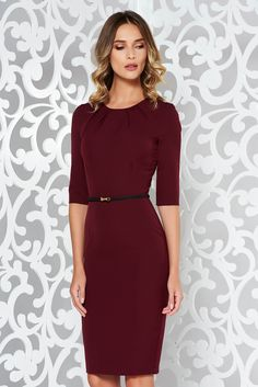 bf006ff230 StarShinerS burgundy basic pencil dress slightly elastic fabric  accessorized with belt