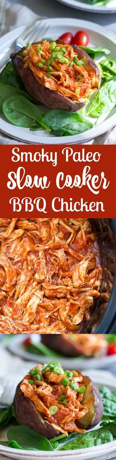Super easy Paleo Slow Cooker BBQ Chicken that's awesome for families with busy weeknights, 5 minute prep, kid friendly, gluten free, Paleo and healthy! Amazing over a baked sweet potato!