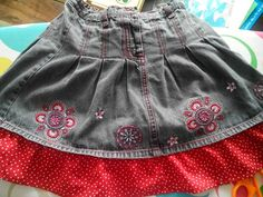 This skirt was a tad bit too short for my liking but at size 3-4 years it still fits my nearly 7 year old daughter's waist - can't complain now, can I. So I just added a bit to the bottom and voila. She's happy and I'm happy.