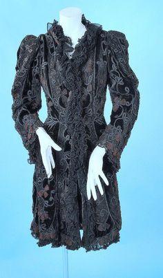 evening coat 1890 | 1890 Belle Epoque Velvet & Lace Fancy Evening Coat with Soutash