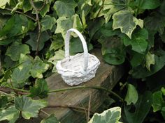 Miniature Basket White Wicker with Handle 3.25 Inches
