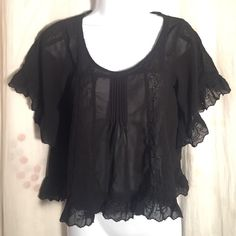 H&M Divided sz 2 sheer crop blouse top festival No issues, super cute! - let's be friends add me on Instagram @OrnamentalStone Facebook Group: Jaded And Traded Pinterest OrnamentalStone /Jaded And Traded Clothes For Sale xoxo H&M Tops Blouses
