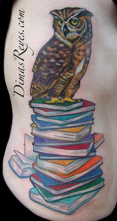 Color Wise Owl on Books tattoo : Tattoos :  Love the colors, but no owl for me