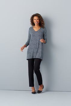 0f3cd37eb8854 J.Jill Wearever printed v-neck elliptical tunic paired with the Wearever  smooth-