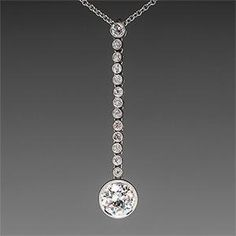 Diamond Journey Pendant Necklace Old Euro Cuts in Platinum - EraGem Diamond Pendant Necklace, Diamond Jewelry, Diamond Necklaces, Diamond Choker, Emerald Earrings, Pearl Necklace, Modern Jewelry, Fine Jewelry, Jewelry Collection