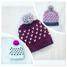 Crochet PATTERN ID 018 Snowflake Fair Isle Hat by InvenzioniDiFilo