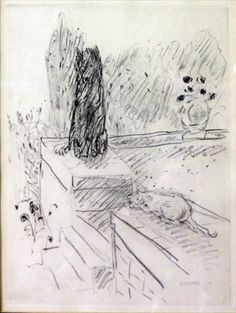 PIERRE BONNARD `CHAT ET CHIEN` 1924, edition of 370. From the book by Octave Mirbeau with 55 etchings.