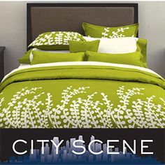 Shop for City Scene Branches Grass Green Duvet Cover Set. Get free delivery On EVERYTHING* Overstock - Your Online Fashion Bedding Store! Queen Comforter Sets, King Duvet, Bedding Sets, Green Bedding, Dorm Bedding, Gray Bedroom, Bedroom Decor, Bedroom Ideas, Zen Bedrooms