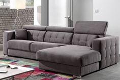Canapé d'angle gris en tissu JERICHO
