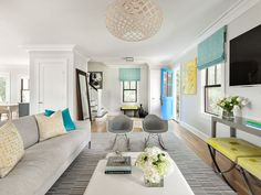 Image result for grey living room with pops of color
