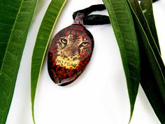 Tiger Recycled Silver Spoon Spoon Jewelry No Fear Vintage Spoon Resin Necklace Collage Upcycled Roar Jungle Big Cat Handmade Jewelry     Collage