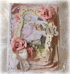 Tattered Treasures: Handmade Valentine Rose Garden Card for The Shabby Tea Room