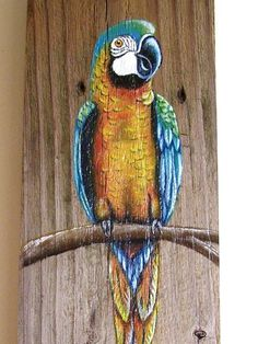 Parrot Plaque Hand Painted on Reclaimed Fence by roseartworks Pallet Painting, Pallet Art, Tole Painting, Fabric Painting, Painting On Wood, Painting & Drawing, Palm Frond Art, Fence Art, Driftwood Art