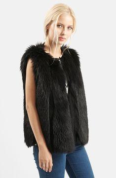 Topshop 'Leah' Faux Fur Vest-Size (2)