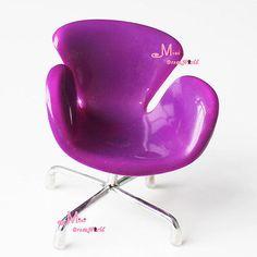 1/6 Barbie Blythe Dolls Flower Dinning Room Furniture Toy Swivel Chair Purple