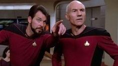Star Trek Riker Picard Meme Image: Riker showing something to Picard Star Trek Meme, New Star Trek, Alison Pill, Game Of Thrones Meme, Jonathan Frakes, Sonequa Martin Green, Star Trek Series, American Crime Story, Patrick Stewart