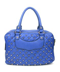 Another great find on #zulily! Blue & Gold Quilted Stud Tote by AR New York #zulilyfinds