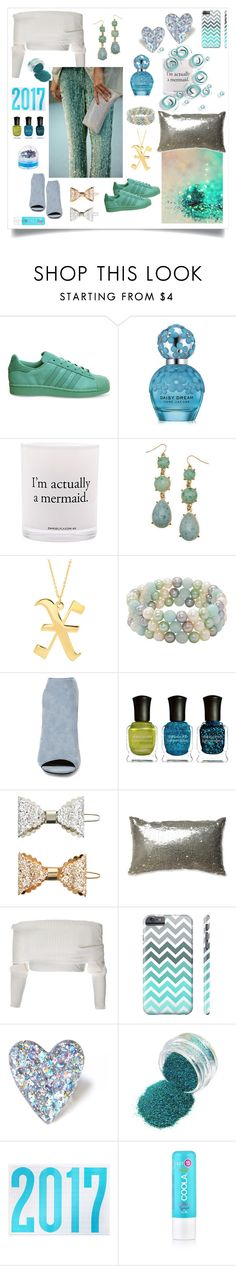 """like a mermaid"" by xanthik ❤ liked on Polyvore featuring adidas, Marc Jacobs, Damselfly Candles, Eklexic, Honora, Steve Madden, Deborah Lippmann, Accessorize, Pillow Perfect and COOLA Suncare"