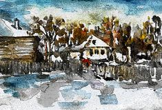 Winter Painting - Winter In The by Cuiava Laurentiu Winter Painting, Greeting Cards, Wall Art, Winter Drawings, Wall Decor