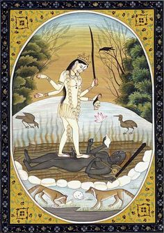 Kali and Shiva in correlative existence pose