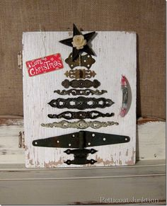 DIY Christmas Tree from Reclaimed Hardware and Vintage Cabinet Door        (@ petticoatjunktion)