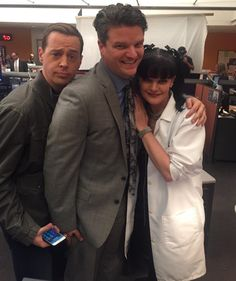 Sean Murray, Matt Jones (Dorneget), and Pauley Perrette on the set of NCIS.