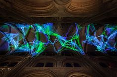 Miguel Chevalier weaves + projects complex meshes of light to Durham Cathedral
