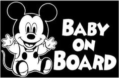 New Custom Screen Printed Tshirt Baby On Board Mickey Mouse S 3XL Free Shipping
