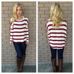 Burgundy Let it Shine Stripe Knit Top
